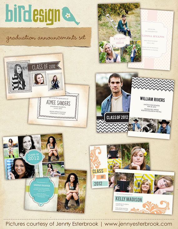 INSTANT DOWNLOAD  5 Grad Announcement Photoshop by birdesign, $20.00