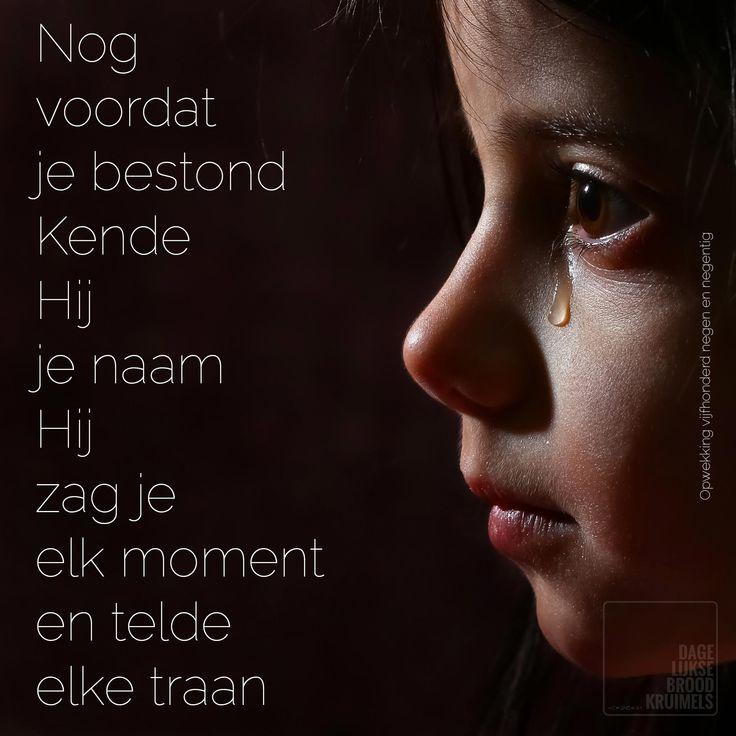 Nog voordat je bestond. Kende Hij je naam. Hij zag je elk moment en telde elke traan. Opwekking 599   #Verdriet  http://www.dagelijksebroodkruimels.nl/quotes-christelijke-muziek/opwekking-599/