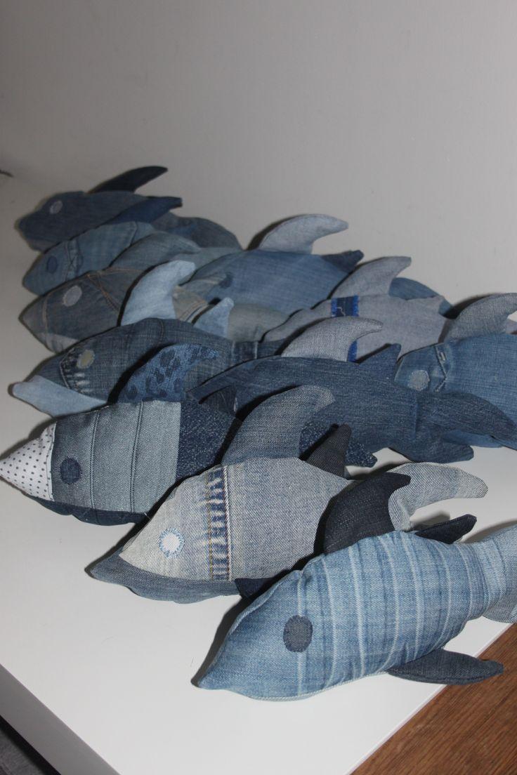 VISSEN…van old jeans gerecycled! Made by A-leebel.nl