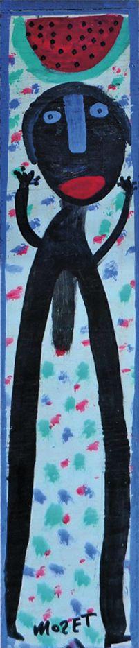 Der Afroamerikaner Mose Tolliver, 1924 (?)-2006, aus Alabama, begann nach einem schweren Unfall, der seine Beine zertrümmerte und ihn für den Rest seines Lebens arbeitsunfähig machte, als Autodidakt an zu malen. Er blieb zeitlebens behindert. seine Selbstbildnisse zeigen ihn mit Krücken. Eine Arbeit auf www.aussenseiterklunst.ch