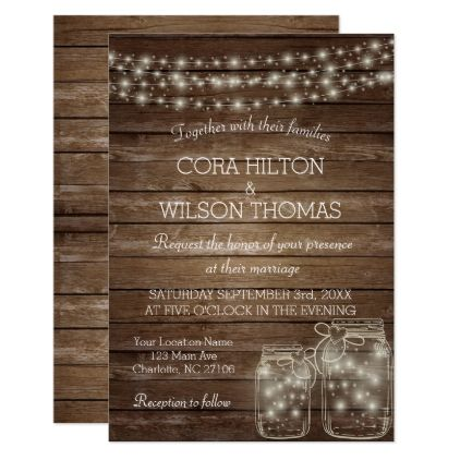 Elegant Rustic Mason Jar Lights Wedding Card - invitations custom unique diy personalize occasions