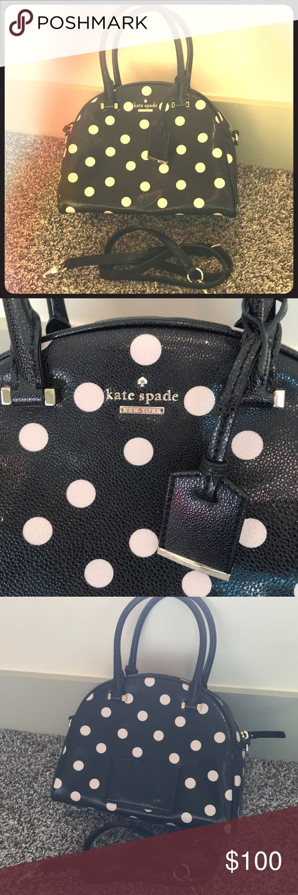 Cedar street dot small pearl Beautiful black purse with cream polka dots and gold detailing. Comes with cross body attachment. Make this the statement piece to all your outfits! Perfect condition kate spade Bags
