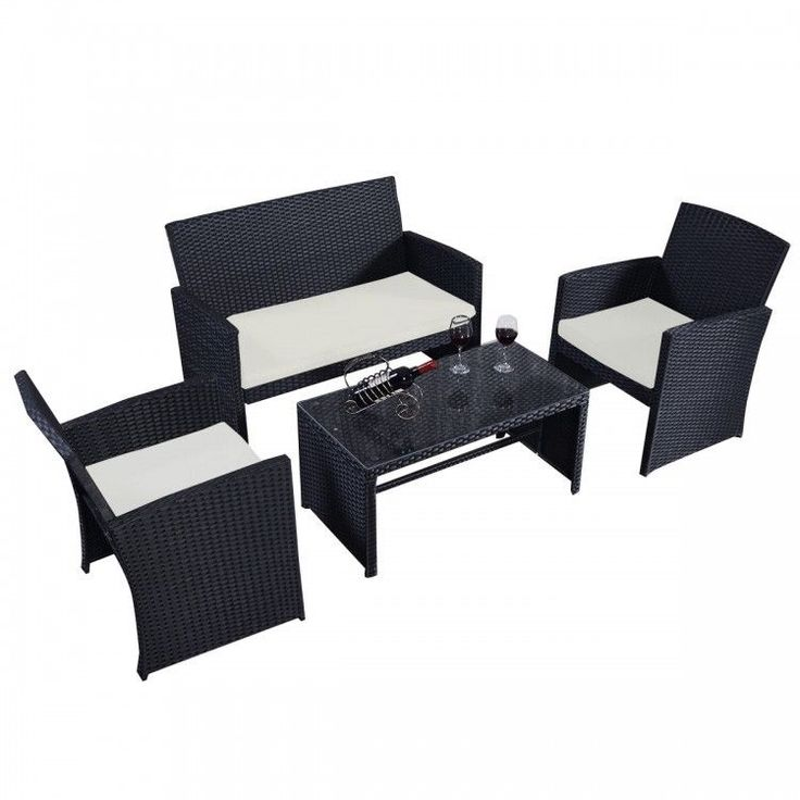 Outdoor Rattan Wicker Patio Furniture Set 4PC Cushioned Sofa & Table Garden Lawn #PatioFurniture