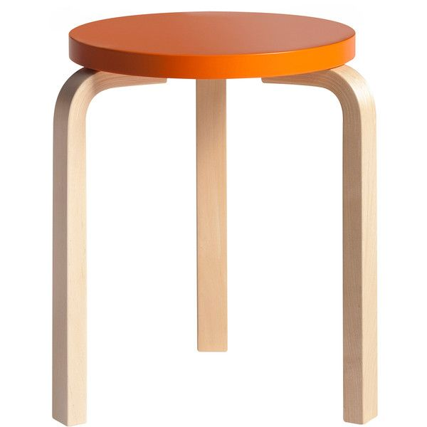 Artek Outlet - Alvar Aalto Stool 60 - Birch/Orange Seat (€175) ❤ liked on Polyvore featuring home, furniture, stools, artek, lacquer furniture, orange stool, birch wood furniture and birch furniture