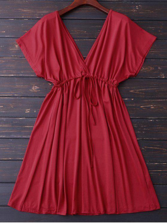 $21.49 Plunge V Back Drawstring Dress - RED M