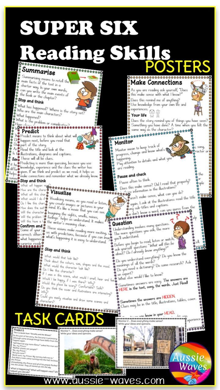 Great Resources For Reading Centres Printable Posters And Task Cards For Super Six Comprehe Reading Skills Posters Reading Skills Reading Comprehension Skills [ 1277 x 720 Pixel ]