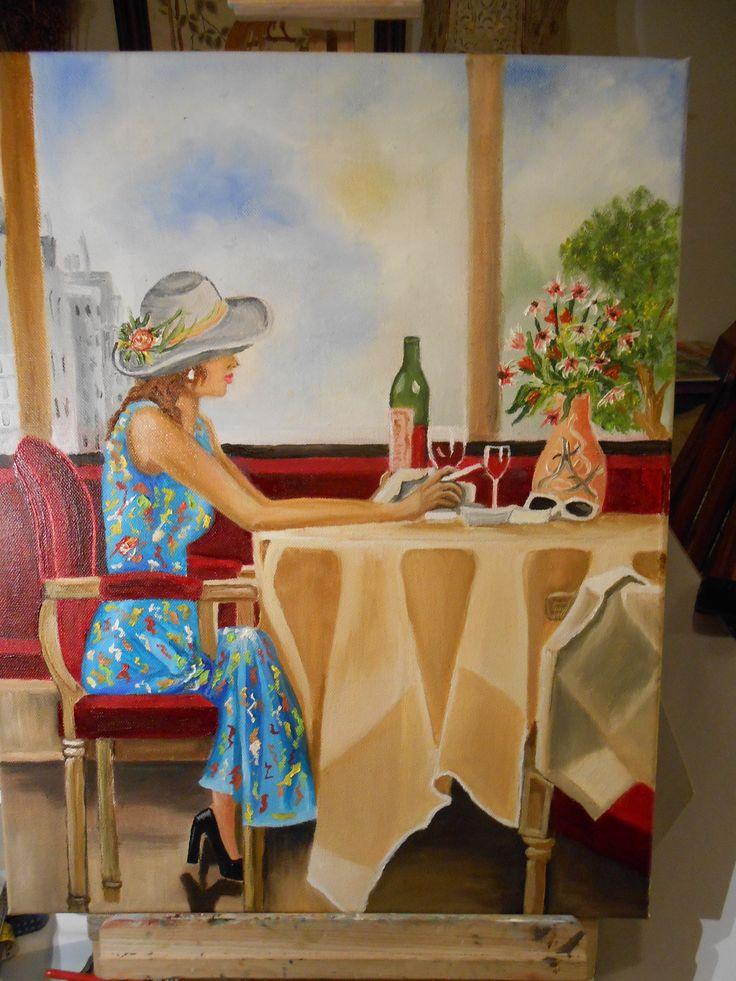 Διαβάζοντας το γράμμα σου.....!!! ελαιογραφια σε μουσαμά cm 50x40 reading your letter ..... !!! Oil on canvas cm 50x40