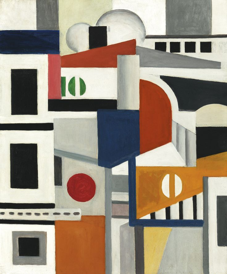 Fernand Léger 1881 - 1955 LES MAISONS Signed F. Léger, titled and dated 22 (on the reverse) Oil on canvas 25 5/8 by 21 1/4 in. 65 by 54 cm Painted in 1922.