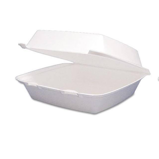 Carryout Food Container Foam Hinged 1 Comp 9 1 2 X 9 1 4 X 3