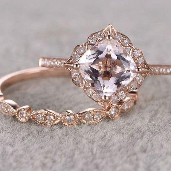 7mm Cushion Morganite Wedding Set Diamond Bridal Ring 14k Rose Gold Retro Vi In 2020 Antique Engagement Rings Vintage Vintage Engagement Rings Antique Engagement Rings