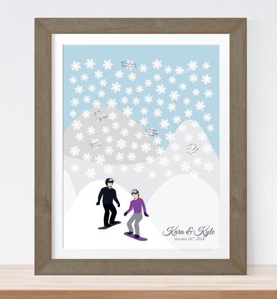 Snowflake Wedding Guest Book Alternative for by MissDesignBerryInc