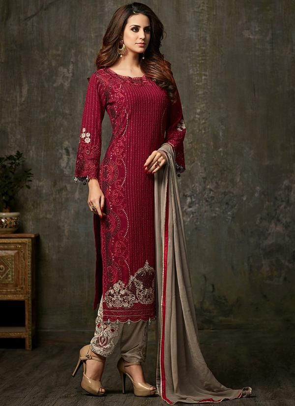 2bd6f90a45 Red Embroidered Georgette Salwar Kameez | women's fash | Salwar ...