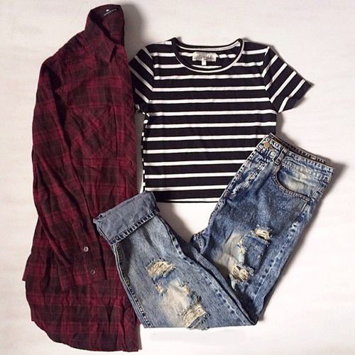 Fitted black & white stripes crop top , ripped boyfriend jeans , red & black flannel