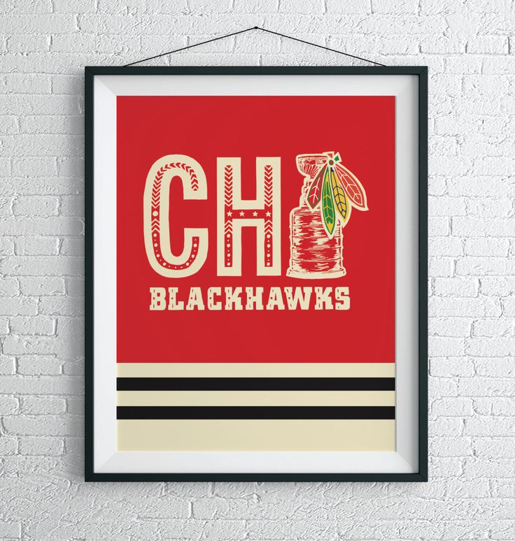 Throwback Chicago Blackhawks Jersey Wall Art / Vintage Blackhawks Poster / Chicago Art Print