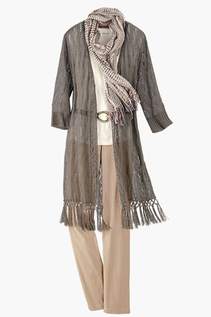 like the long sweater and the scarf, which is neutral enough to go with many different outfits