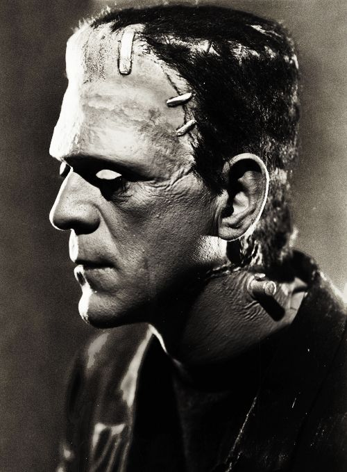 Boris Karloff. Frankenstein.  Monster.  Black and White.  Horror films and movies