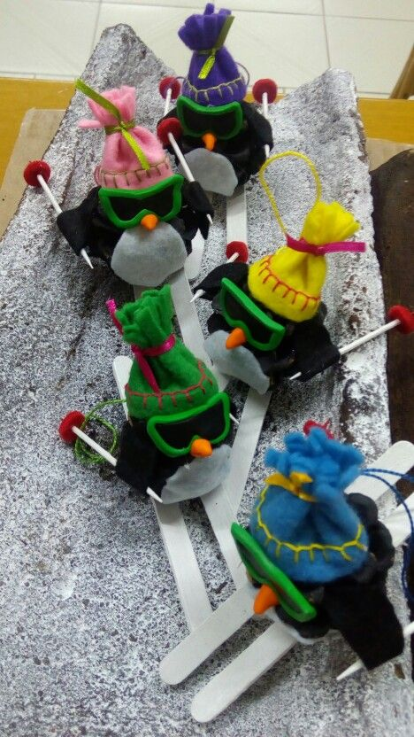 Skiing penguins Christmas ornaments