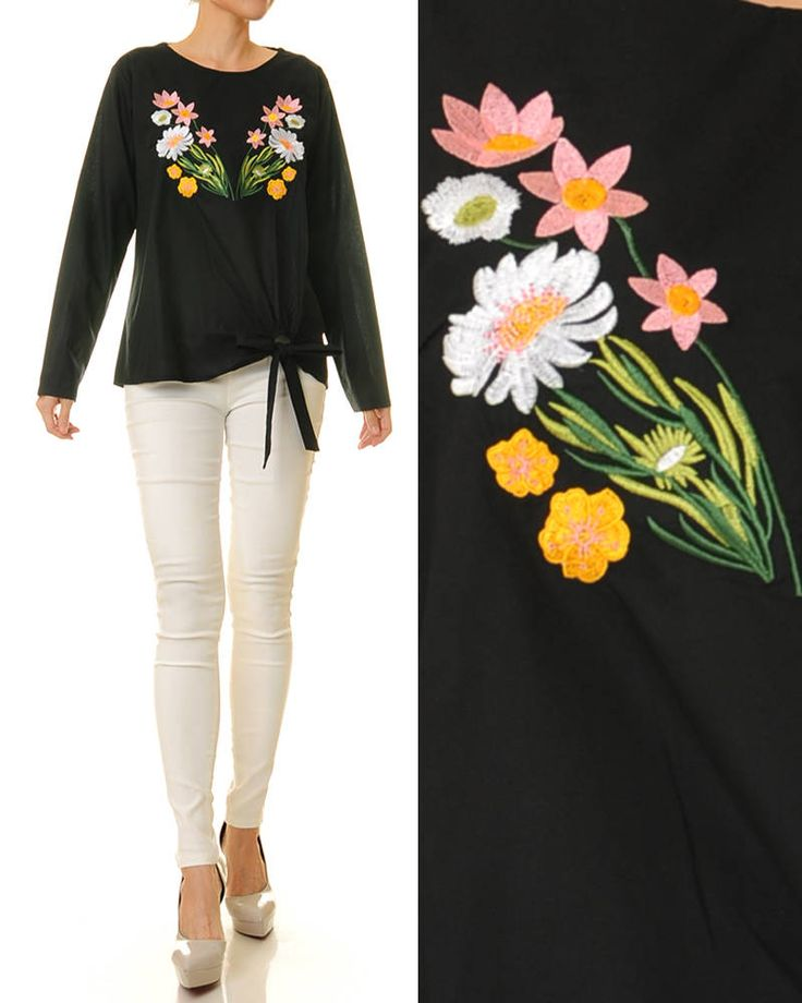 Embroidered Blouse | Long Sleeve Top | Black Embroidery Blouse | Long Sleeve Blouse | Floral Embroidered Shirt | Peasant Blouse S/M 8162 by Tailored2Modesty on Etsy