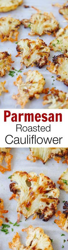 #thanksgiving #sidedish Parmesan Roasted Cauliflower – the most delicious cauliflower ever, roasted with butter, olive oil and Parmesan cheese. SO GOOD you'll want it every day!! | rasamalaysia.com