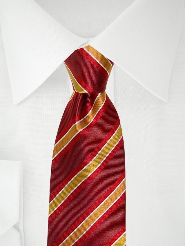 Rote Krawatte mit rot, gelb, weißen Streifen