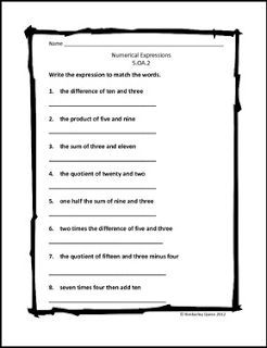 """FREE MATH LESSON - """"Numerical Expressions Worksheet (5.OA.2)"""" - Go to The Best of Teacher Entrepreneurs for this and hundreds of free lessons. 4th - 5th Grade  #FreeLesson  #Math   http://thebestofteacherentrepreneursiv.blogspot.com.co/2016/06/free-math-lesson-numerical-expressions.html"""