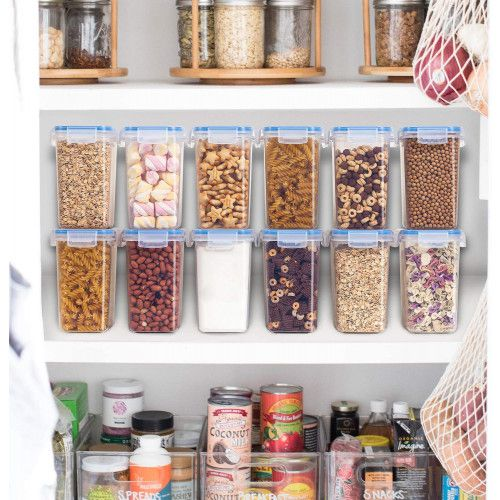 Vtopmart Airtight Food Storage Containers 12 Pieces 1.5qt / 1.6L- Plastic PBA Free Kitchen Pantry Storage Containers for Sugar, Flour and Baking Supplies – Dishwasher Safe – Include 24 Labels