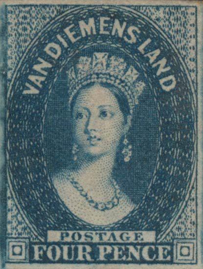 Tasmania 1855-1858. Queen Victoria. Chalon. Four Pence