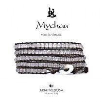 Mychau - Bracciale Vietnam originale realizzato con Agata Ghiaccio (Ice Agate) naturale su base bracciale col. Testa di Moro