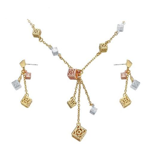 Hollow Cubes Chain Necklaces Earrings Set