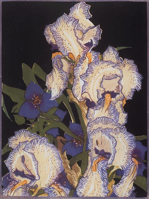 "Franklin Carmichael (Canadian, 1890–1945) - ""Pencilled Irises"", ca.1925-32. Colour linocut on laid paper 