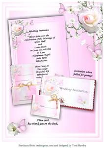 Wedding Invite to Print Pink on Craftsuprint - View Now!