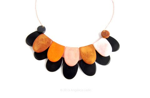 Thea Tagua Necklace: Layered and colourful, contemporary hand-sculpted tagua necklace.  www.angelicaleon.net