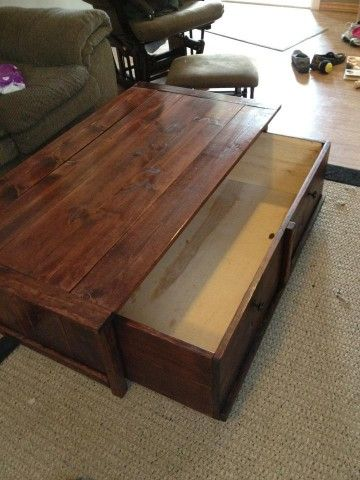 20 sec tidy up coffee table with trundle toy box/storage