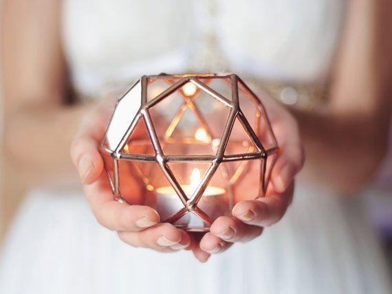 Géométrique bougeoir en verre, mariage lumières, cuivre Home Decor, des faveurs de mariage, Photophore Bougie, anneau porteur boîte, les ouragans en verre