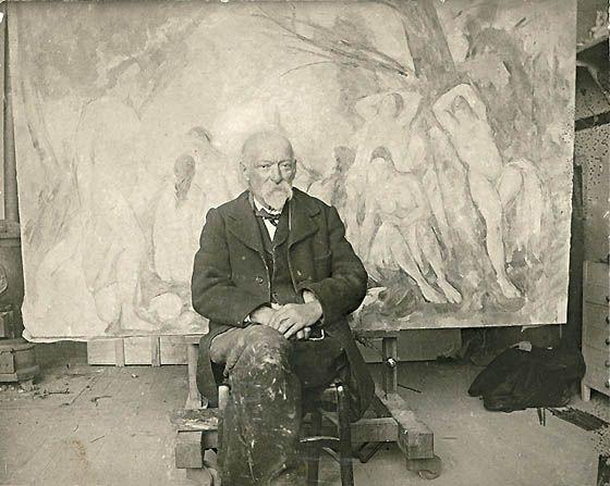 Paul Cezanne in his studio, 1904.