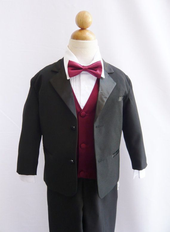 Tuxedo to Match Flower Girl Dresses Color in Black with Burgundy Vest for Toddler Baby Ring Bearer Easter Communion Bow Tie