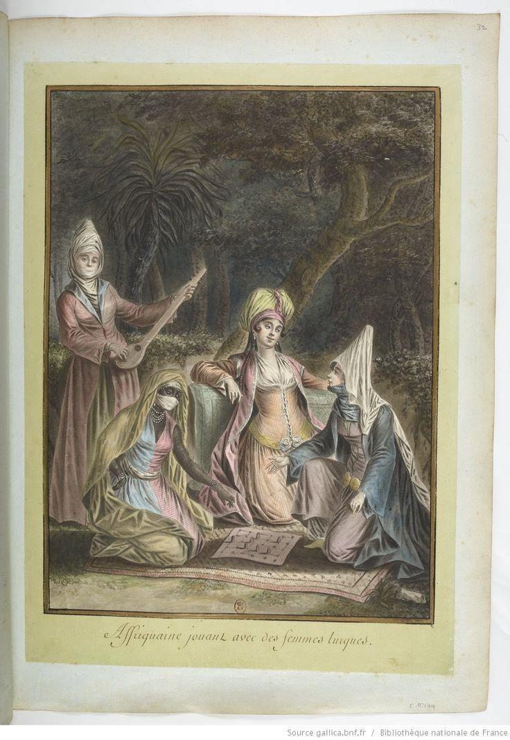 Affriquaine [africaine] jouant avec des femmes turques : [dessin] / [François-Marie Rosset]
