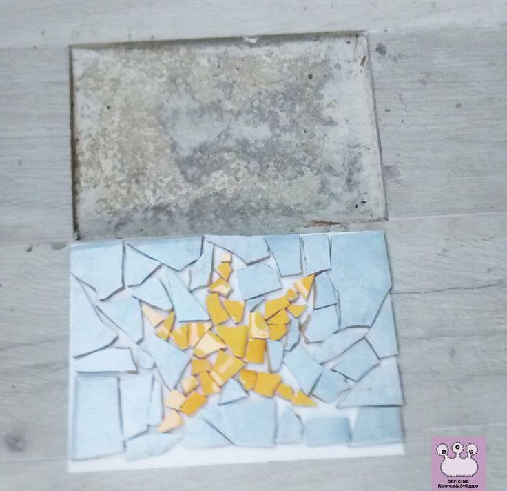 mosaico disegno stella marina realizzato con scarti di mattonelle rotte, per una casa al mare