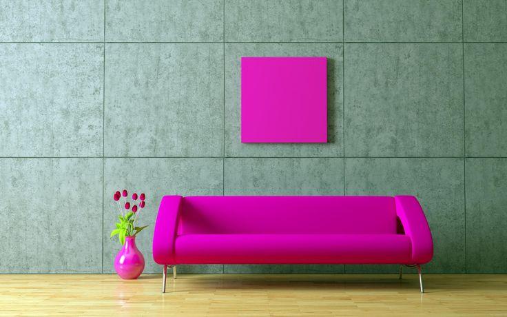 фото розовый диван