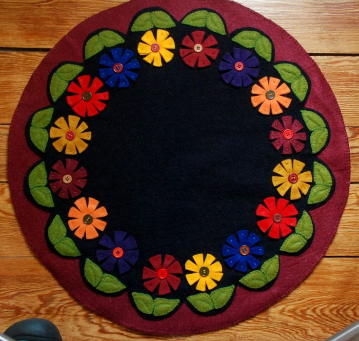 Penny rug candle mat wool button flowers