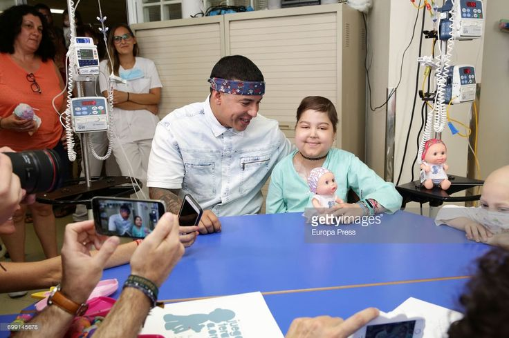 Daddy Yankee visits chidren at Childhood Oncology area at La Paz Hospital organized by the Juegaterapia Foundation that fight against childhood cancer on June 19, 2017 in Madrid, Spain.