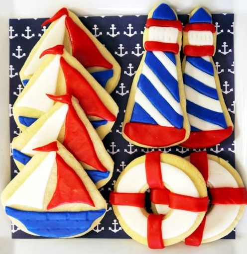Nautical Themed Birthday Cookies #summer #cookie #decorated