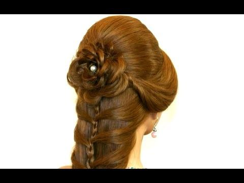 Cute prom braided hairstyles for long hair. Hair made rose. - YouTube