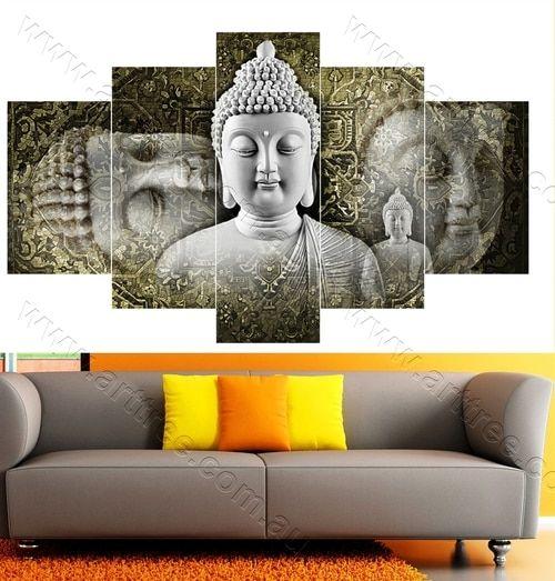 Traditional Grey Buddha 5 panel wrapped canvas set #art #buddha #homedecor