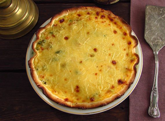 Vegetable pie   Food From Portugal. A delicious pie filled with vegetables sautéed in olive oil, onion and garlics, which goes to oven drizzled with a béchamel and egg mixture, sprinkled with grated cheese.  http://www.foodfromportugal.com/recipe/vegetable-pie/