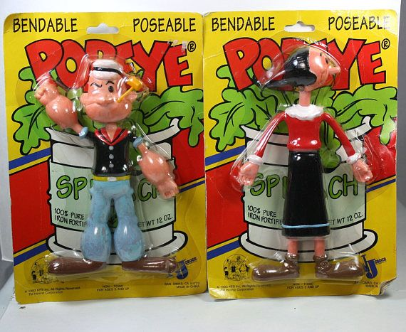 Vintage Popeye and Olive Oyl Bendable Poseable Toy Figures