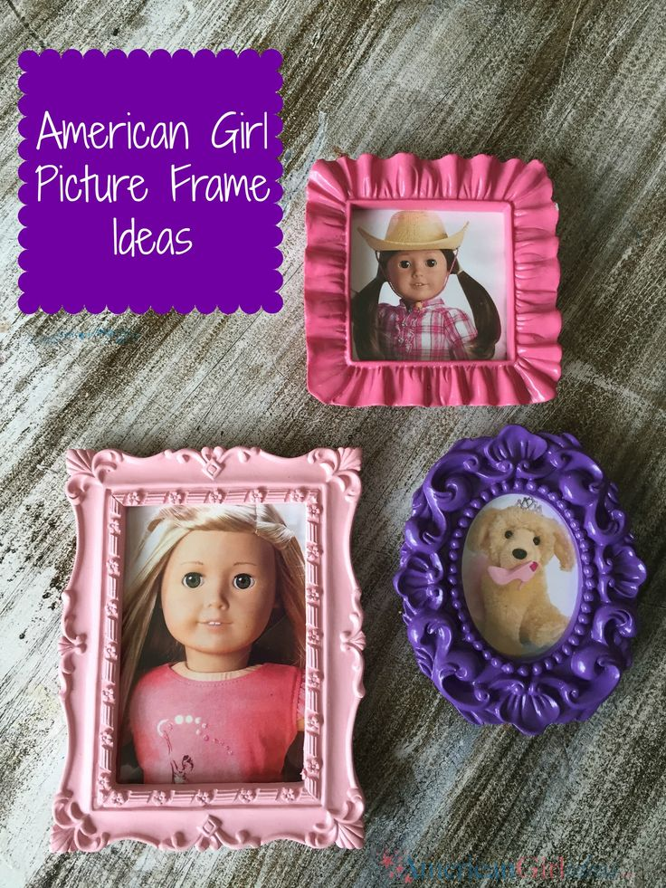 Get little frames at Michaels and use the paper that cones inside frame as a guide to cut pictures of your dolls.