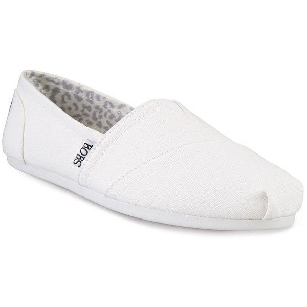 Skechers BOBS Plush Peace and Love Women's Flats ($40) ❤ liked on Polyvore featuring shoes, flats, white, white slip on shoes, slip-on shoes, memory foam flats, memory foam shoes and flat shoes