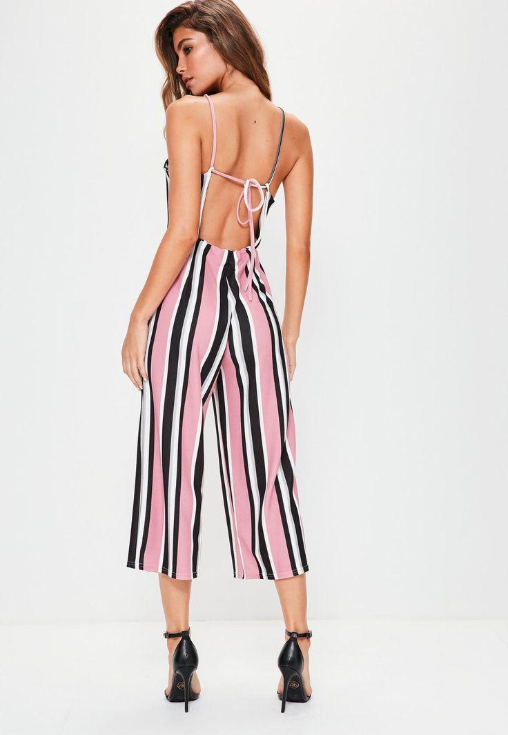 Missguided - Mono largo de rayas con culotte en rosa
