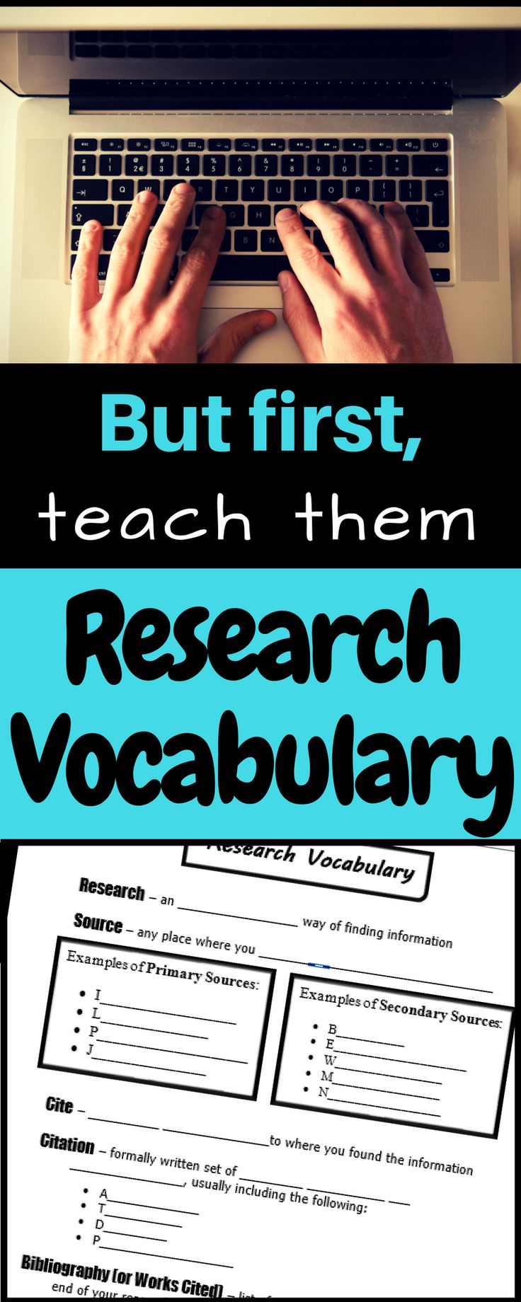 Before beginning your class's research project, teach your students the research vocabulary terms they will need to do it! This vocabulary activity introduces important research concepts like sources, citations, bibliography/works cited, and MLA format. It's perfect for beginning researchers!